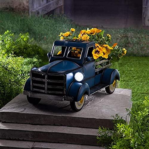 Plantas de interior, macetas de plantas, jarrones exteriores, maceta de flores, maceta de suculento con LED solar, lámpara de autobús, maceta, decoración de casa, oficina, regalo de cumpleaños