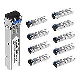 10Pcs SFP Network Transceiver Module, 1.25 Gigabit Single Mode LC Duplex 1000BASE-LX Dual ...