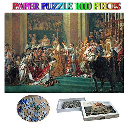 Ceremonia de coronación de Napoleón Adulto 1000 Rompecabezas Adulto Famoso Pintura al óleo Rompecabezas Juguete niños Adultos Juguete Educativo