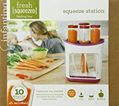 SYSTEM INCLUDES: (1) Self-Storing Non-Skid Base Station, (1) Soft Rubber Press, (3) Food Tubes, (10) Pouches/Caps and (1) Food Storage Guide Magnet HOW IT WORKS: Puree fresh food (no chunks) or bulk applesauce/yogurt pour into food tubes, press into ...