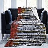 Blanket Woodland Forest Birch Tree Throw Blanket Ultra Soft Velvet Blanket Lightweight Bed Blanket Quilt Durable Home Decor Fleece Blanket Sofa Blanket Luxurious Carpet for Men Women Kids 60 x 50 in