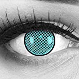 Farbige Kontaktlinsen Jahreslinsen Meralens 1 Paar blaue schwarze Crazy Fun Blue Screen. Topqualität zu Fasching Karneval Fastnacht Halloween mit Kontaktlinsenbehälter ohne Stärke