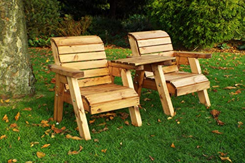 Home Gift Garden Childrens Outdoor Wooden Companion Seats - Solid Patio Kids Furniture