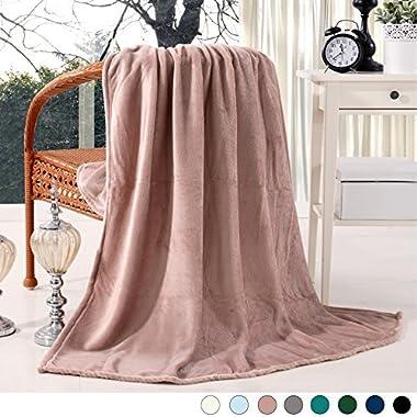 Exclusivo Mezcla Luxury Flannel Velvet Plush Throw Blanket - 50  x 60  (Pink) by