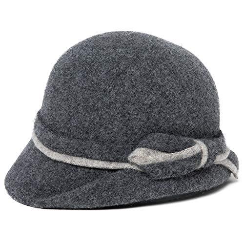 Comhats Wolle 1920s Retro Kirche Hüte für Damen Filzhut Klassisch Bowler Hut Fedorahüte Grau