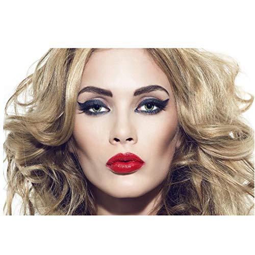 Gigoo Mädchen Blonde Haare Make-up Lippenstift Wandkunst Raumdekor Wohnkultur Leinwand Poster drucken Schlafzimmer Dekor 50x75cm Rahmenlos