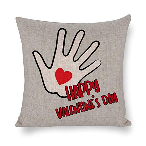 Yilooom 26 X 26 Inch Cotton Linen Square Throw Pillow Cases Cushion Covers, Bed Sofa Couch Car Home Decor, Happy Valentines Day
