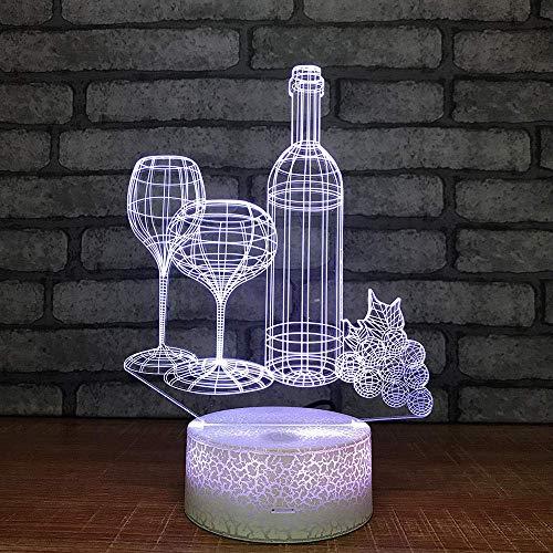 3D Night Light Creative Red Wine Cup 3D Lámpara Con Mesita De Noche Coloridas Lámparas 3D Decoración Del Dormitorio Pequeño Led Night Light