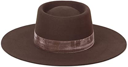 Lack of Color Women's Juno Boater Wool Hat with Velvet Ribbon Trim