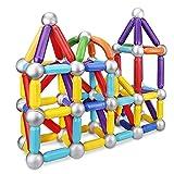 大人と幼児(3歳以上の子供)向けの64個のPCS磁気スティック構造セットおもちゃと教育用スタッキングおもちゃ