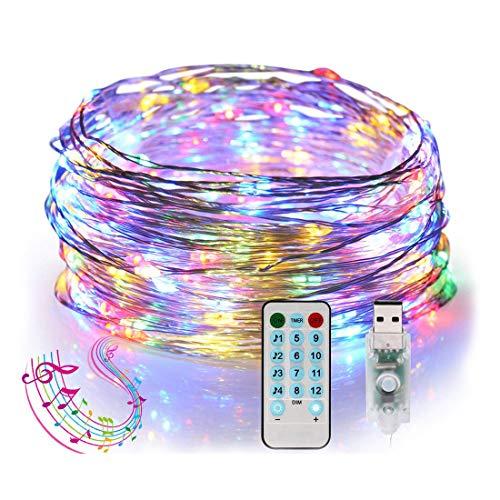 Mehrfarbige LED-Lichterketten, MCSWSEA 33ft 100 LED-Kupferdraht-Lichterketten mit Fernbedienung, IP65 Wasserdicht 12 Modi USB-betriebenes dekoratives Lichterketten für Weihnachten, Innen-Außenbereich