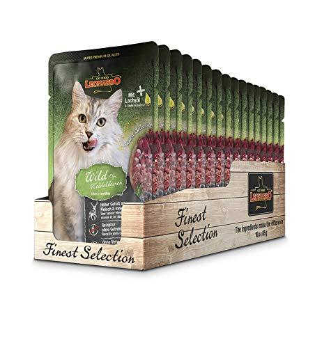 Leonardo Frischebeutel [16x85g Wild + Blueberry] | Getreidefreies Nassfutter für Katzen | Feuchtfutter Alleinfutter im Einzelportionsbeutel