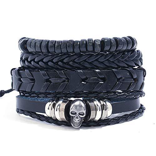 Nobrand Punk Rock Skull Charm Bracelet Set Vintage Retro Gothic Pirate Skeleton Jewelry Beads Cuerda Trenzada Brazalete De Cuero Envoltura Hombres Mujeres
