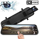 IXROAD Spiegel-Dashcam für Autos, 25,4 cm (10 Zoll) Touchscreen-Dashcam, 2K Front- und 1080P Rückkamera, Weitwinkel-Aufnahmegerät mit Nachtsicht, G-Sensor, Parkmonitor