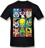 Looney Tunes Bugs Tweety Daffy Taz - Camiseta de manga corta para hombre, color negro