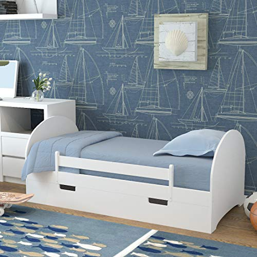 Warmiehomy Children Toddler Bed for Kids with Drawer and Safety Guardrail...
