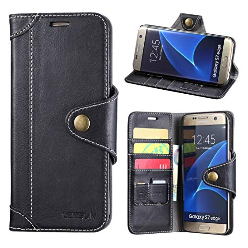 Lensun Cover Galaxy S7 Edge, Vera Pelle Cuoio Custodia Genuino Annata a Portafoglio con Chiusura Magnetico per Samsung Galaxy S7 Edge 5.5' – Nero (S7E-GT-BK)