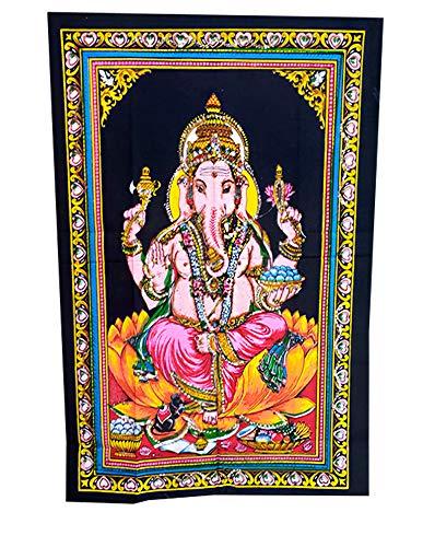 NK GLOBAL Sr. Ganesha Tapiz de Pared Decorativo Bordado Tela de algodón Cartel Indio Imagen Tapiz 1 Pieza Mantel