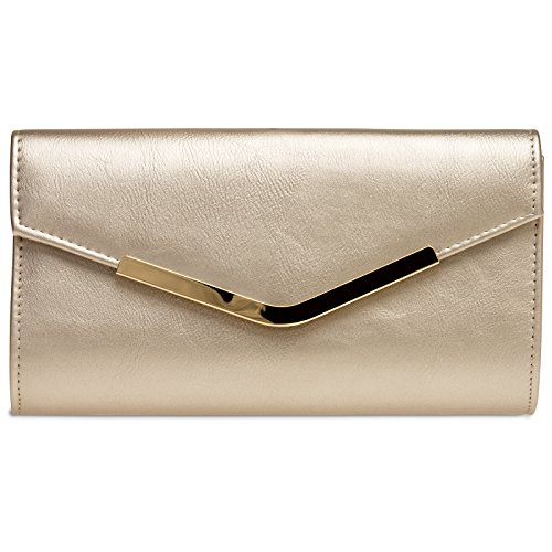 Caspar TA384 elegante Damen Clutch Tasche Abendtasche mit langer Kette, Farbe:champagner, Größe:One Size