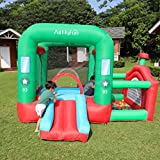 Toddler Inflatable Bouncer House with Slide Playground, Kids Bounce House with Ocean Ball Pool and Air Blower for Indoor Outdoor Active Center, Boys Girls Play Game Gift【US Fast Shipment】 (Multi)