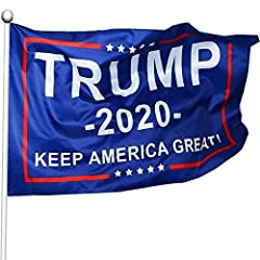 BEST COLOR: Great color matching, classic blue background,the trump flags are matched with a bright color series, sharp and vivid .Easy to attract people's attention. FADE RESISTANT:Trump 2020 flag features such as waterproof and durable.More importa...