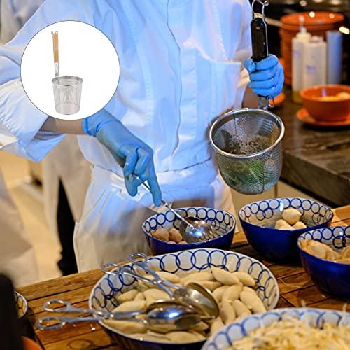 BESTonZON Gran Colador Redondo Wok Cesta de Freír Mango de Madera de Acero Inoxidable para Resistencia Al Calor Pasta Udon Fideos Ramen Enjuague Escurrido Freír 14Cm