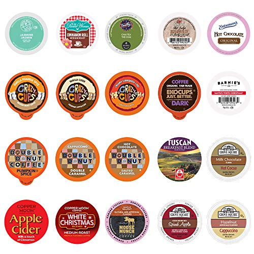 Perfect Samplers Coffee, Tea, Cider, Cappuccino, and Hot Chocolate Single Serve Cups For Keurig K cup Brewers, Premium Mix, 20 Count