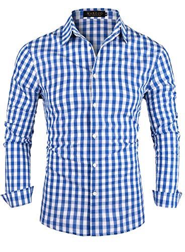 MAROJO Herren Kariertes Hemd Langarm Baumwolle Karo Freizeithemd Trachtenhemd (Himmelblau, XXL)