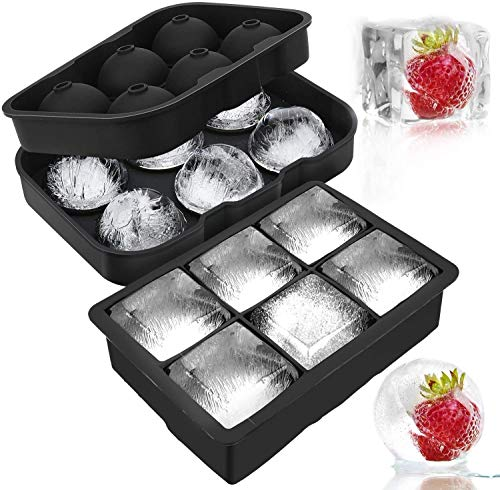 ADTALA Ice Cube and Ball Trays Silicone , Ice Ball Maker with Lid and Large Square Ice Cube Molds for Whiskey, Reusable and BPA-free (Black, Free Size) Combo Set of 2