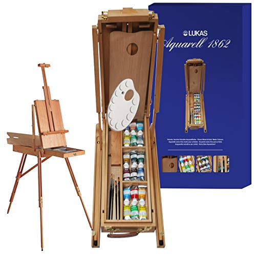 Lukas Aquarell Professional Artist Complete Watercolor Painting Set, Includes French Easel Canvas Stand for Painting, Watercolor Palette Set, and Watercolor Brushes Set, 18 x 37ml Tubes