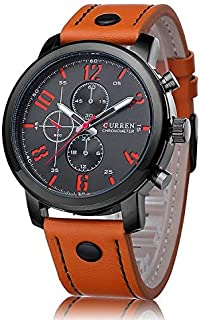 Curren Casual Watch For Men Leather- 12H Luminous - 8192