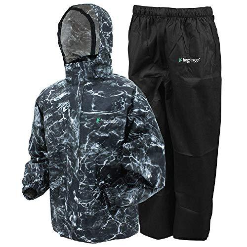 FROGG TOGGS Men's Classic All-Sport Waterproof Breathable Rain Suit, Mossy Oak Elements Blacktip/Black Pants, Large