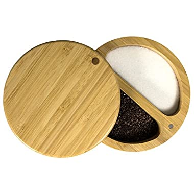 Totally Bamboo Duet Salt Box, Two Compartment Bamboo Storage Box with Magnetic Swivel Lid