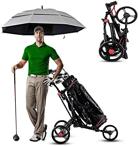 Sale!! Folding 3 Wheel Golf Push Carts Golf Trolley with with 360 Rotating Front Wheel, Umbrella Sta...