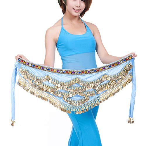 DANCER One Size Fit All Belly Dance Belt Kostuum Hip Sjaal Rok 5 Rijen 328 Gouden Munten