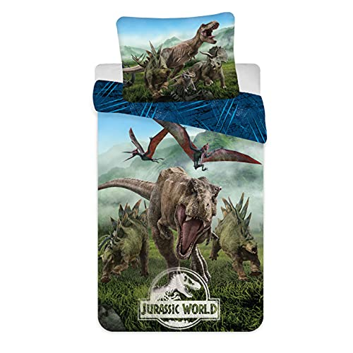 Jerry Fabrics Jurassic World Forest, Juego de Ropa de Cama, Funda de Edredón 140 x 200 cm y Funda de Almohada 70 x 90 cm, 100% Algodón