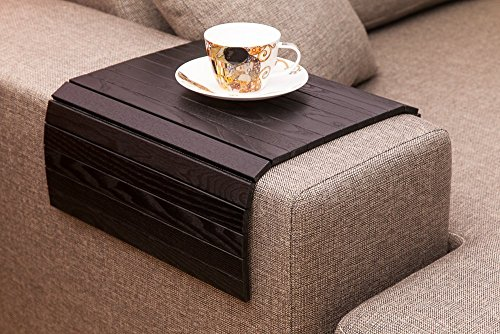Black Sofa Side Tray Table - Wood Armrest Tray – Sofa Tray Table - Surface For Coffee/Meals/Laptop - 22.5' x 14'