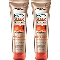 L'Oreal Paris Ever Sleek Keratin Caring Shampoo and Conditioner