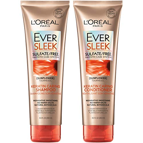 L'Oréal Paris EverSleek Keratin Caring Shampoo & Conditioner Kit for Dry, Straightened Hair, 8.5 Ounce, Set of 2