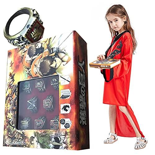 WFCQNB Anime Cosplay, 8 Piezas de Conjunto de Anillos de Titan y Anime Cosplay Costume Collar Colgante COS Accesorios de Accesorios de Disfraz, Especial