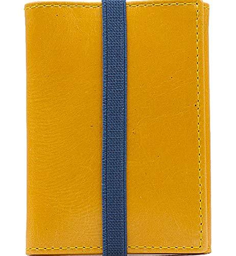 Piamonte - Cartera de Piel desplegable Icon 950; con Billetera y Tarjetero, Minimalista y Slim [Handmade] - Amarillo Mostaza + Azul China