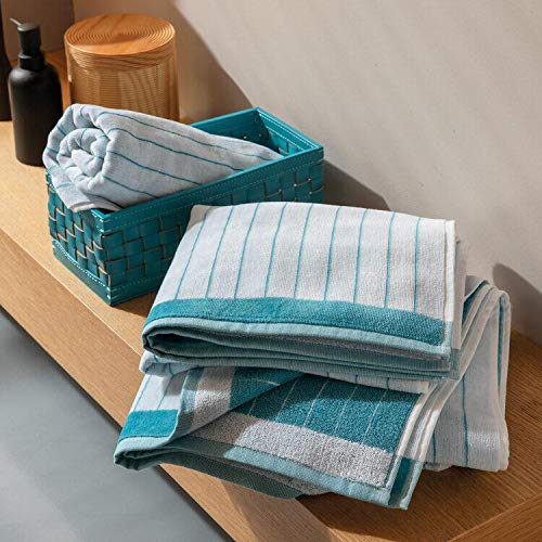Zucchi Juego de toallas 1 + 1 Collection – Toalla de 60 x 110 cm + invitados 40 x 60 cm – Toallas de 100% rizo de puro algodón – Santa Tecla (Azzuro T1)