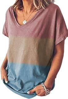 أبيكوك المرأة عارضة الخامس الرقبة اللون كتلة قصيرة الأكمام بلايز بلوزة تي شيرت