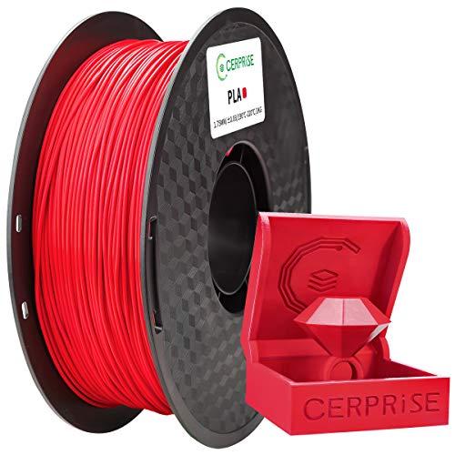 CERPRiSE Filamento PLA 1,75 mm, filamento PLA per stampa 3D per stampanti 3D, rocchetto 1 kg 1,rosso