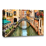 IDEA4WALL Canvas Wall Art Beautiful Landscape Grand Canal, Venice, Italy Painting Artwork for Home Prints Framed - 24x36 inches