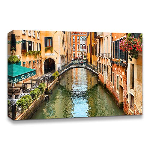IDEA4WALL Canvas Wall Art Beautiful Landscape Grand Canal, Venice, Italy Painting Artwork for Home Prints Framed - 16x24 inches