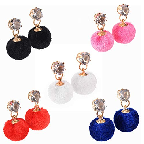 5 Pairs Cute Pompom Earrings Set Artificial Hair Ball Dangle Earrings Classic Multiple Colour Ball Drop Earrings for Women Girls Anniversary Friendship Exquisite Jewelry Set Gifts(Short)