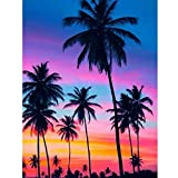 Kits de pintura de diamantes para adultos 5D DIY paisaje bordado completo junto al mar punto de cruz decoración de puesta de sol hogar 50x40cm