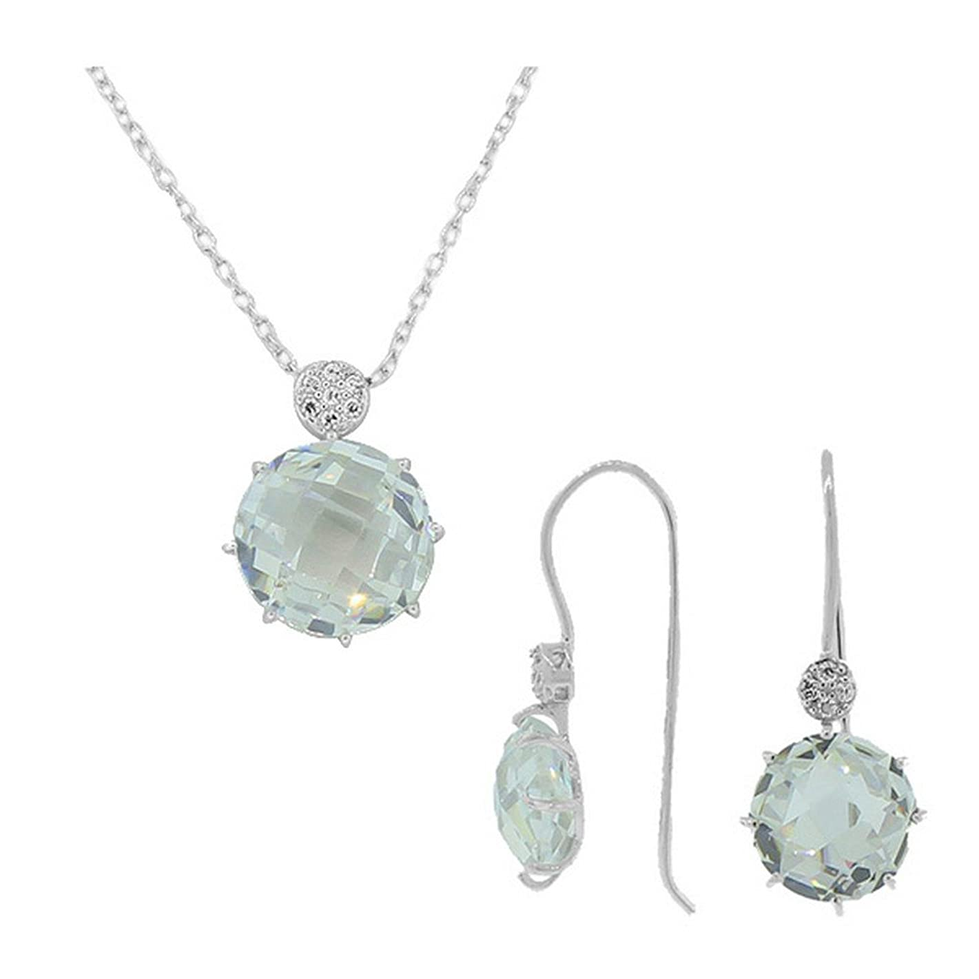 925 Sterling Silver White CZ Charm Pendant Necklace Earrings Set