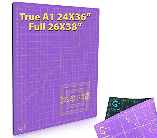 G+ Self-Healing Cutting Mat - True A1 24x36  (26x38  Full) Eco-Friendly, Double-Sided, Non-Slip, Rotary Cutting Board for Quilt, Sewing, Arts and Crafts for School Projects, Businesses, and Giveaways